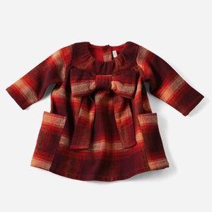 Hallmark Baby SOFT red plaid Dress BOW 6-12 mo